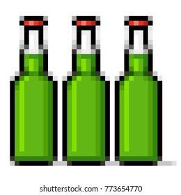 Green beer bottles pixel art