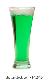 Green beer for St. Patrick's Day on white background