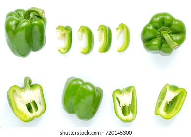 green bell pepper isolated on white background
