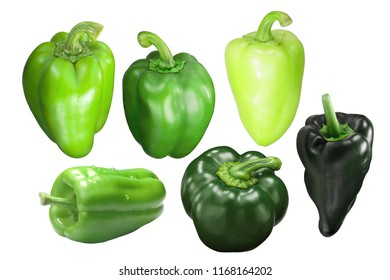 Green bell peppers (Capsicum annuum), different varieties, whole pods