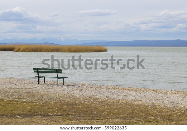 Green bench by the lake
