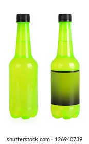 green beverage bottle for carbonated drink on a white background