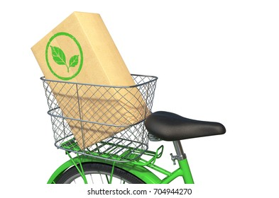 Green Bicycle with Box isolated on White Background. 3D illustration