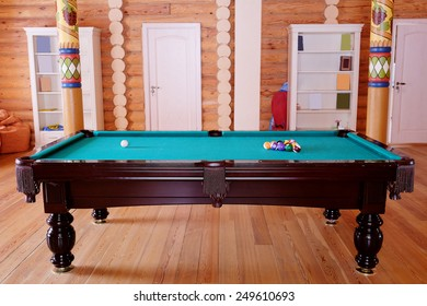 Green billiard table