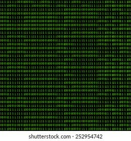 Green binary code on a black background.