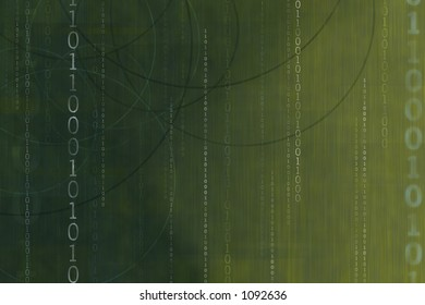 green binary stream dark