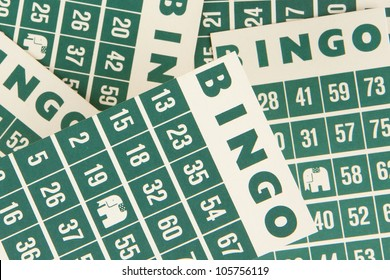 Green bingo cards isolated on a white background
