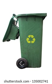 Green bins and recycle sign