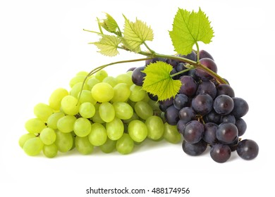 Green and black bunches of ripe grapes with  twig isolated on white background