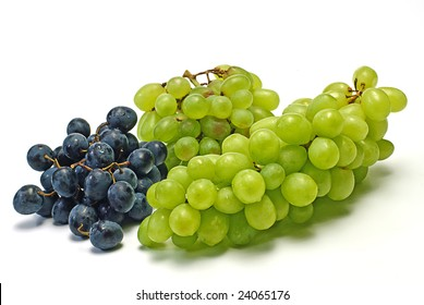green and  black grape on white
