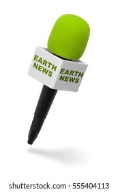 Green and Black Microphone with Earth News Isolated on White Background.