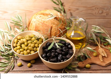 green and black olive with bread