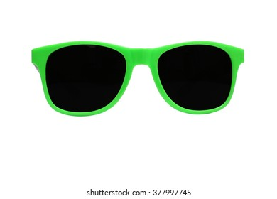Green and Black Sunglasses Shades on White Background