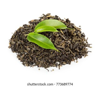 Green and black tea leaves isolated on white background