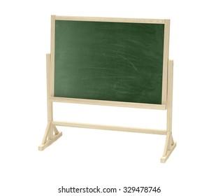 green blackboard, chalkboard isolated on white