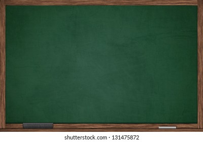 Green blackboard in wooden frame with eraser and chalk