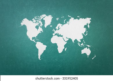 Green blackboard with world map (Outline elements of world map image from NASA public domain)