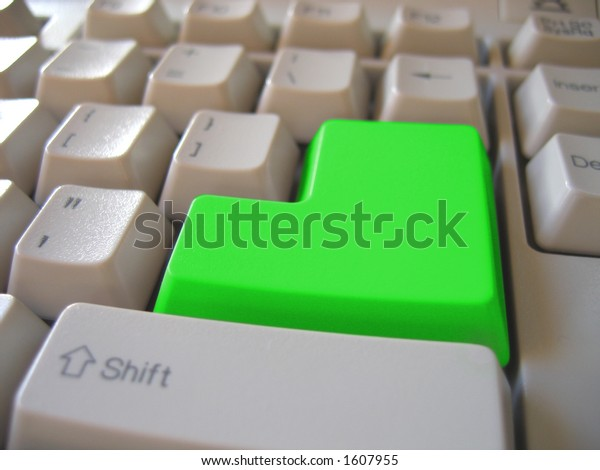 green blank keyboard button