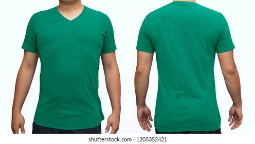 Green blank v-neck t-shirt on human body for graphic design mock up
