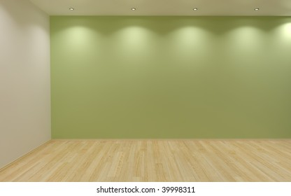green blank wall, with lamps