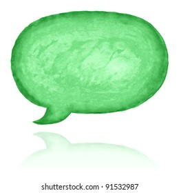 Green blank watercolor speech bubble dialog shape with color reflection isolated on white background
