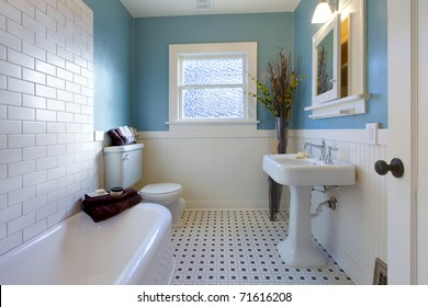 Green blue antique Luxury bathroom in an old house in Tacoma, WA