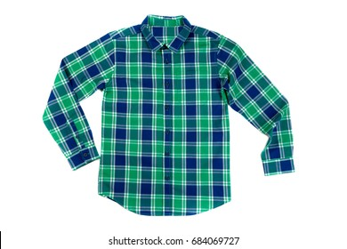 Green with a blue checkered shirt. Isolate on white background