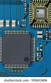 Green and Blue Electronics circuit board on white background in technology concept