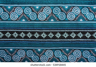 Green and blue handmade Thai traditional Hmong fabric,  Thai Thai traditional ethical pattern