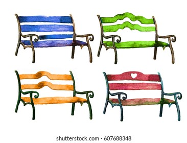 Green, blue, orange, red city park benches set. Hand drawn watercolor painting isolated on white