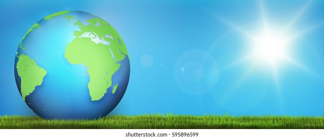 green blue planet earth 3d render. Elements of this image furnished by NASA.