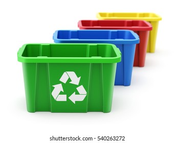 Green, blue, red and yellow recycle crate - 3D illustration