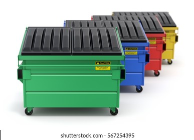 Green, blue, red and yellow recycle dumpster - 3D illustration
