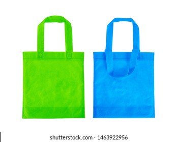 Green and blue shopping Carry bag isolated on white background with clipping path included.