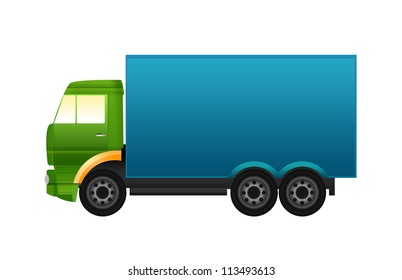 Green and blue truck