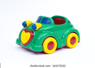 Green, blue and yellow toy car