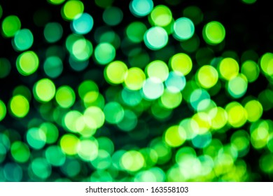 Green blurred lights in the night