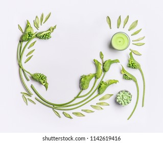 Green botanical flat lay with copy space. Leaves , succulent plants, green flowers and candles on white background, top view. Spa, wellness, beauty, relaxing and vegan skin care concept