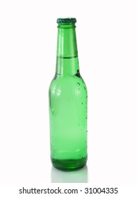 Green bottle of beer with drops and chips of water