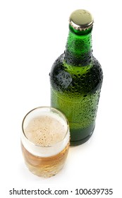 The green bottle of beer and a glass of beer top view  on white background
