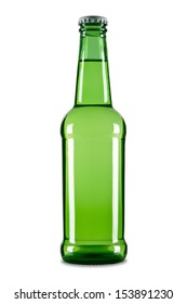 A green bottle of beer isolated over a white background.