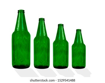 Green bottle beer open with shadow isolated on white background