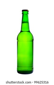 green bottle of beer. Photographed on a white background