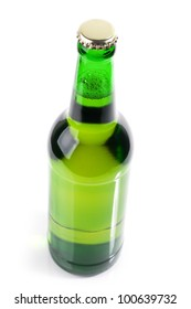 Green bottle of beer  top view on white background