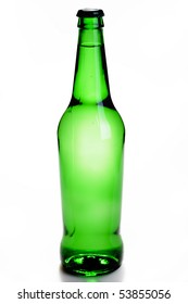 Green bottle with a drink isolated on white