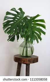 Green bottle shaped glass vase with big green Monstera leaves on a wooden plant stand