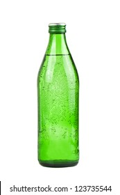 green bottle of soda water
