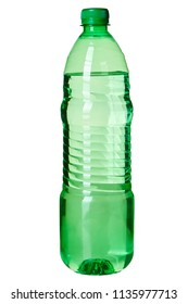 Green bottle of water isolated on white background. Pure mineral, drinking water in pet bottle, 1 liter bottle, 1,5 liter bottle