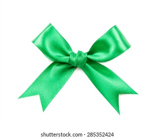 green bow on a white background