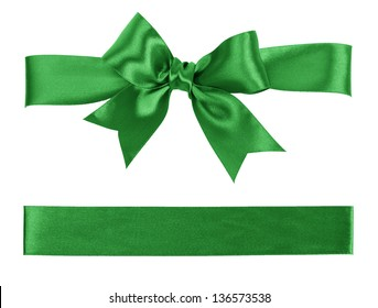 green bow and ribbon isolated